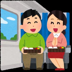 電車で旅行している人達のイラスト
