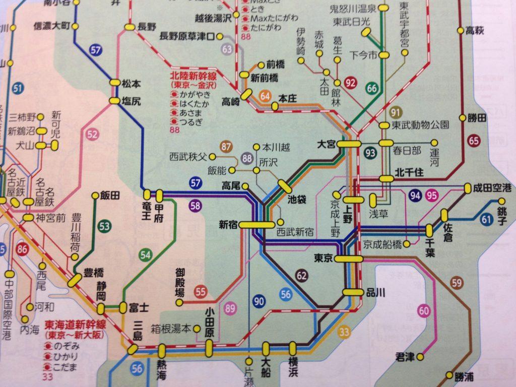 JTB時刻表-特急運転系統図