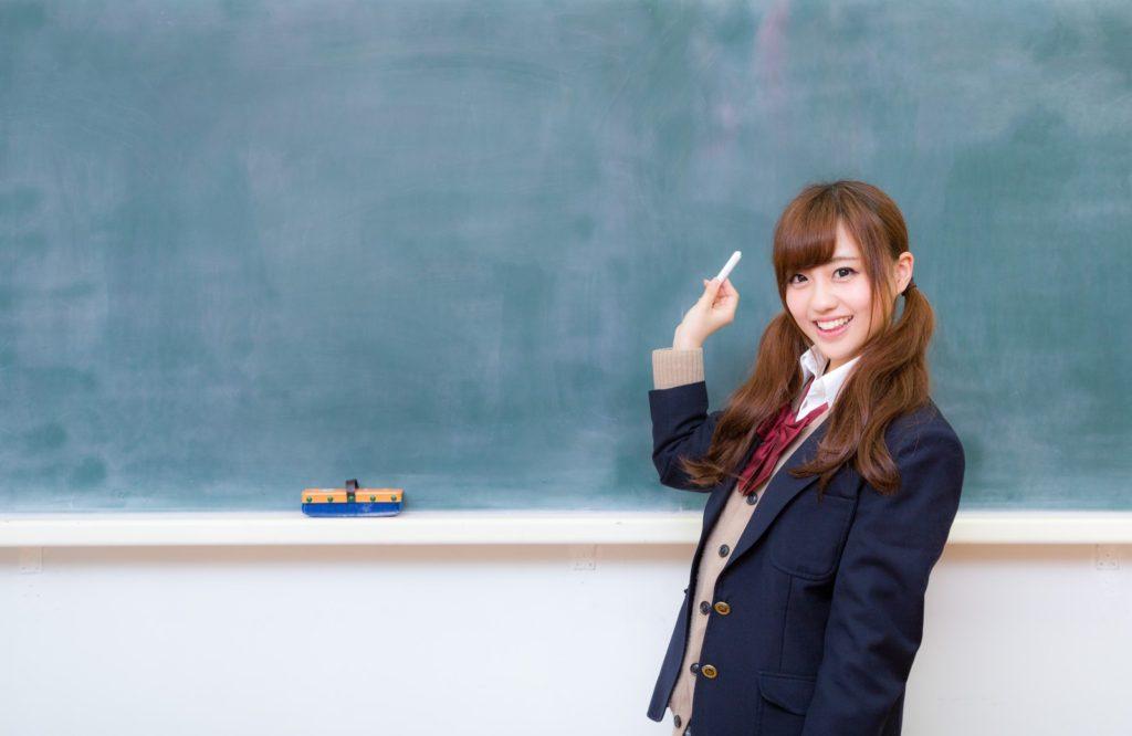 黒板とJK(女子高生) [モデル:河村友歌]