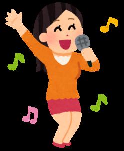 カラオケを歌う女性のイラスト-by-いらすとや