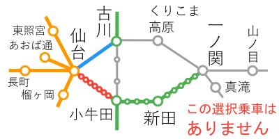 選択乗車-仙台~古川間
