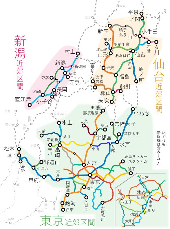 東京近郊区間・新潟近郊区間・仙台近郊区間