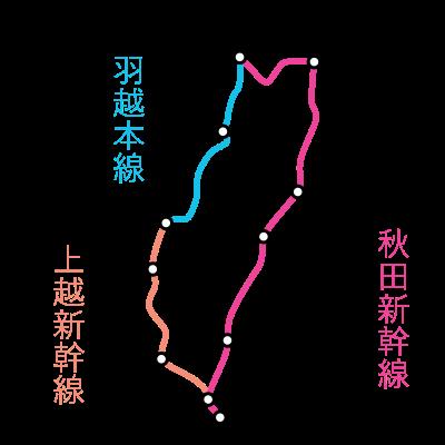 東京~秋田間-一筆書き