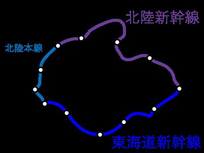 東京~福井間-一筆書き