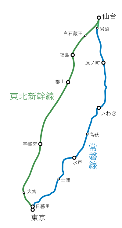 東京~仙台間-一筆書き