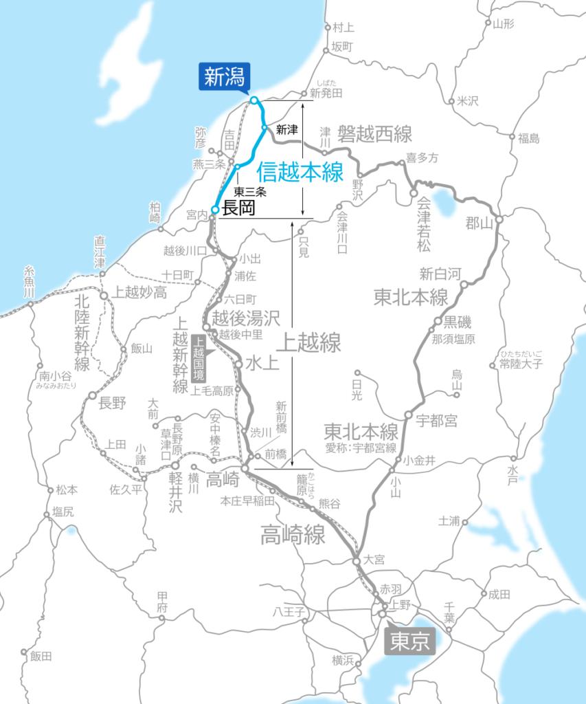 長岡~新潟間-路線図