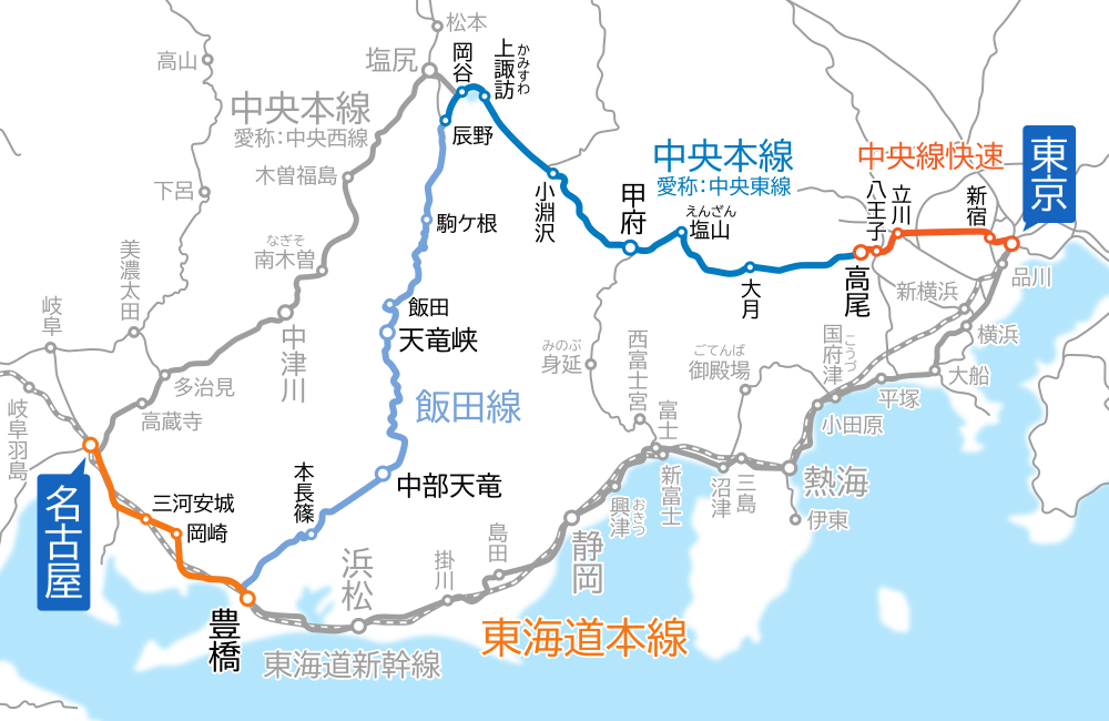東京~名古屋間-路線図-飯田線