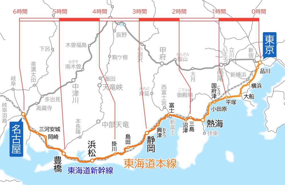 東京~名古屋間-路線図-所要時間