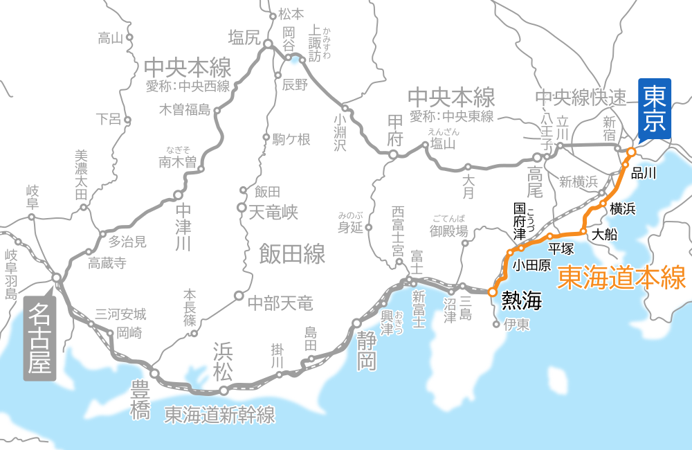 東京~熱海間-路線図