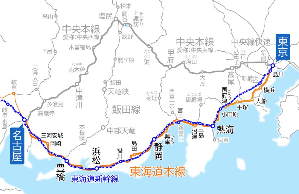 東京~名古屋間-路線図