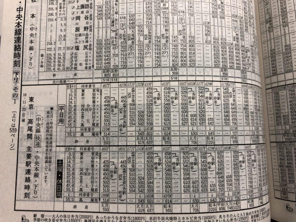JTB時刻表-中央本線連絡時刻