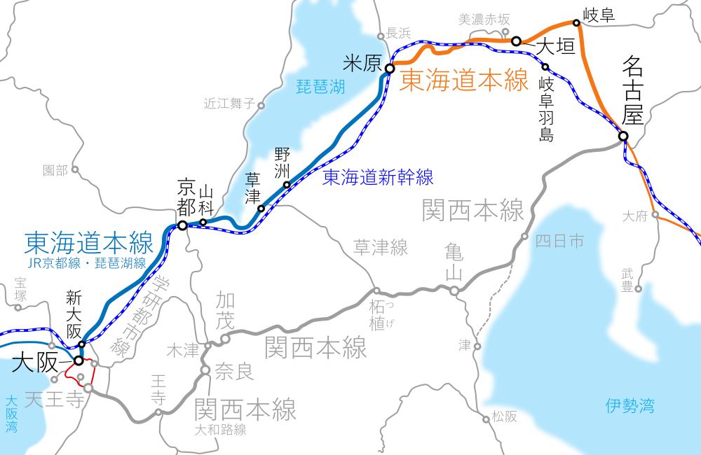 大阪~名古屋間-路線図