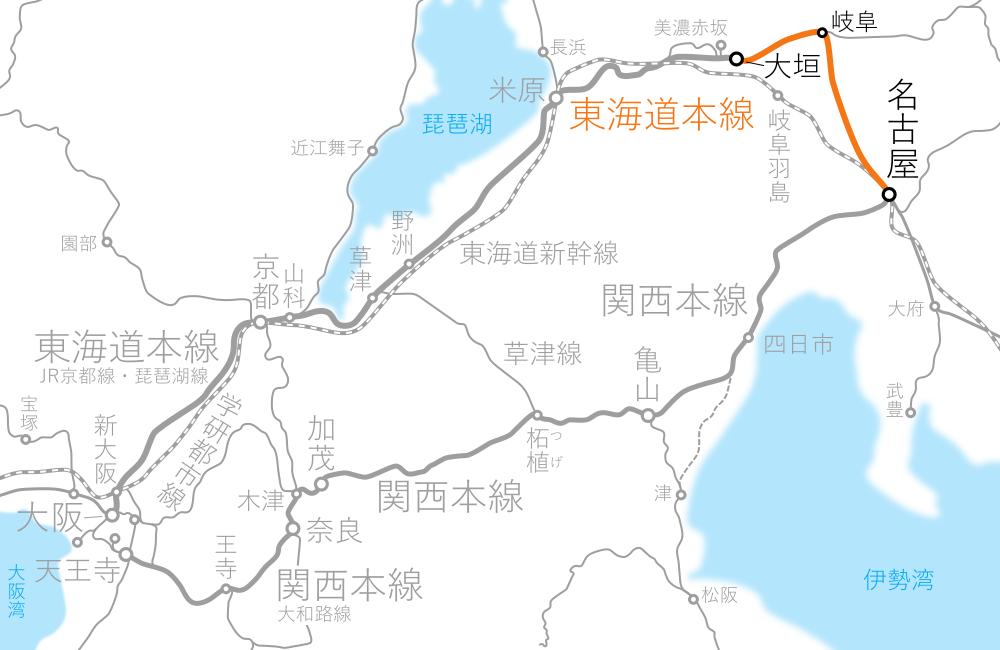 名古屋~大垣-路線図
