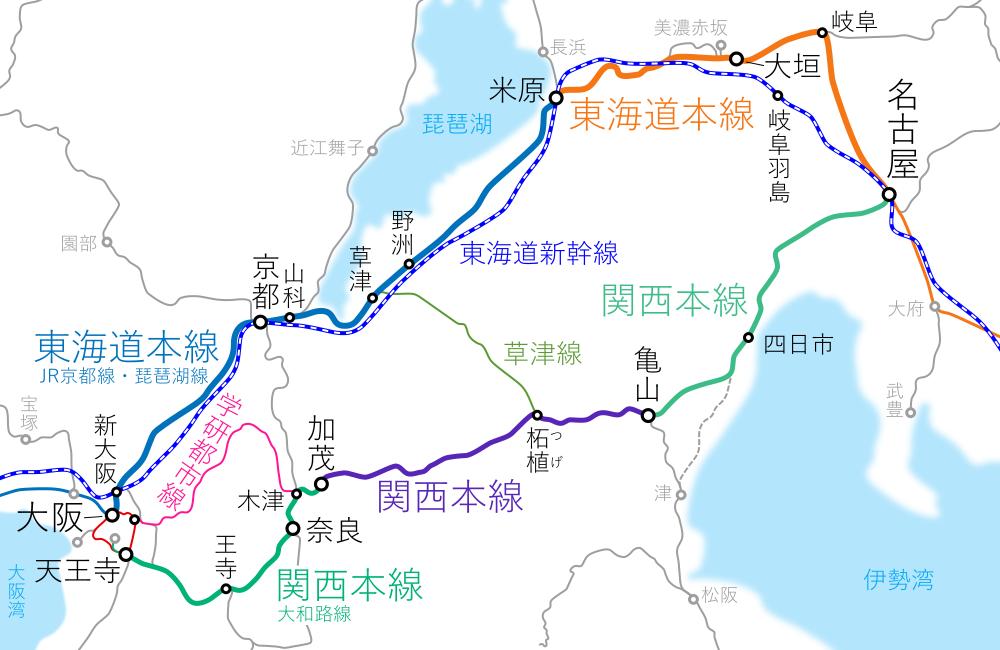 大阪~名古屋間-路線図-他経路