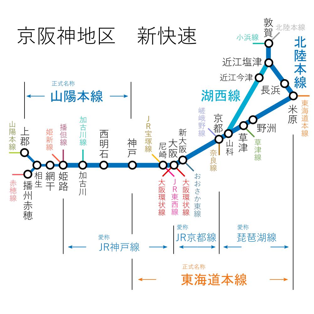 京阪神地区-新快速-路線図
