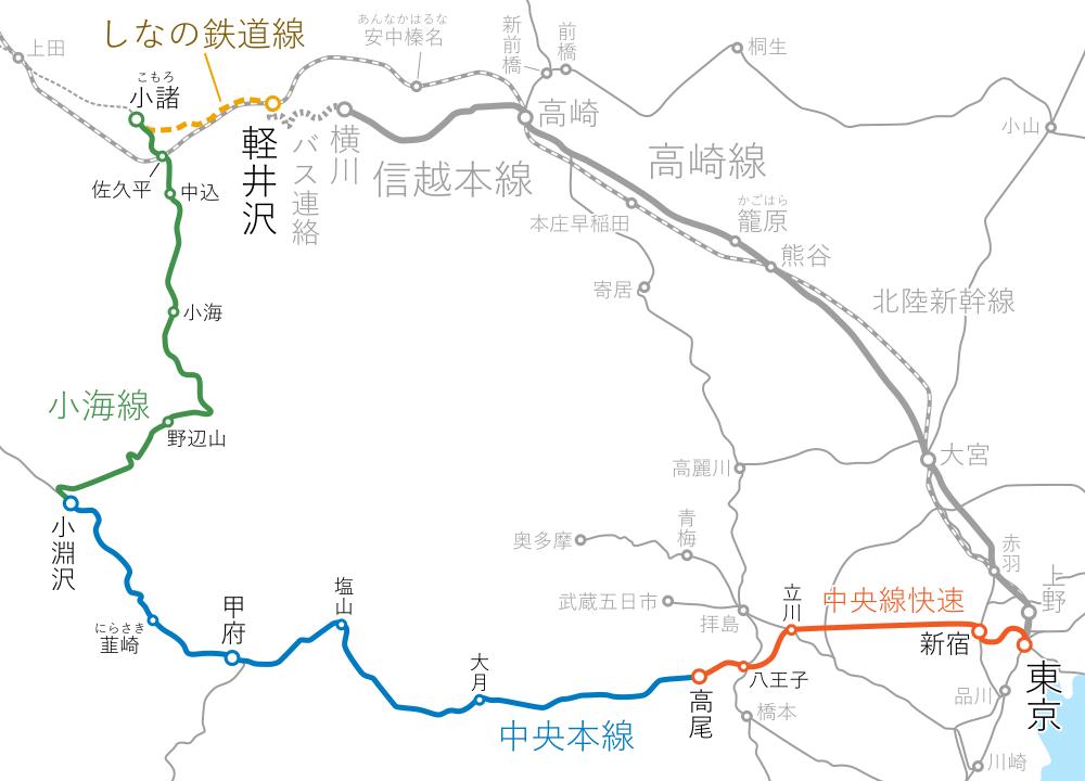 東京~軽井沢間-路線図-小海線経由