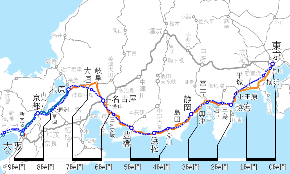 東京~大阪間-路線図-所要時間
