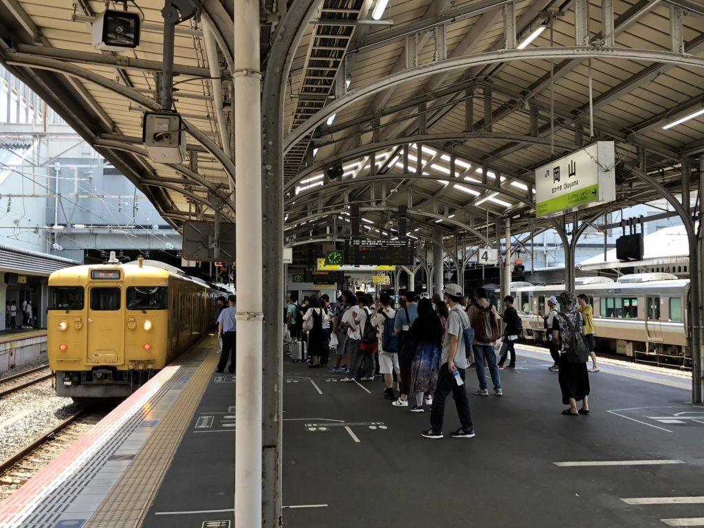 岡山駅-ホーム風景-相生行