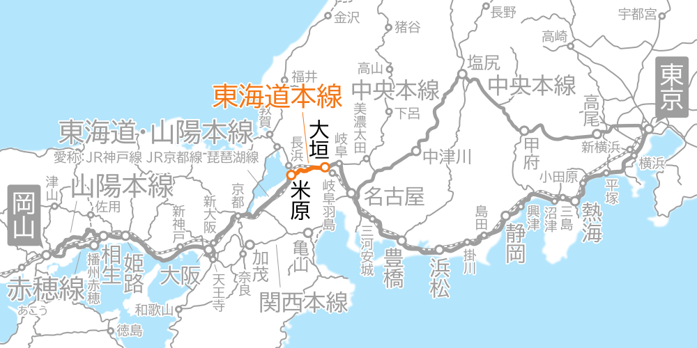大垣~米原間-路線図