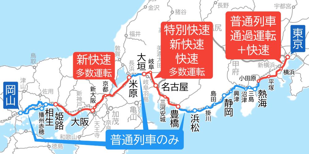 東京~岡山間-路線図-快速運転