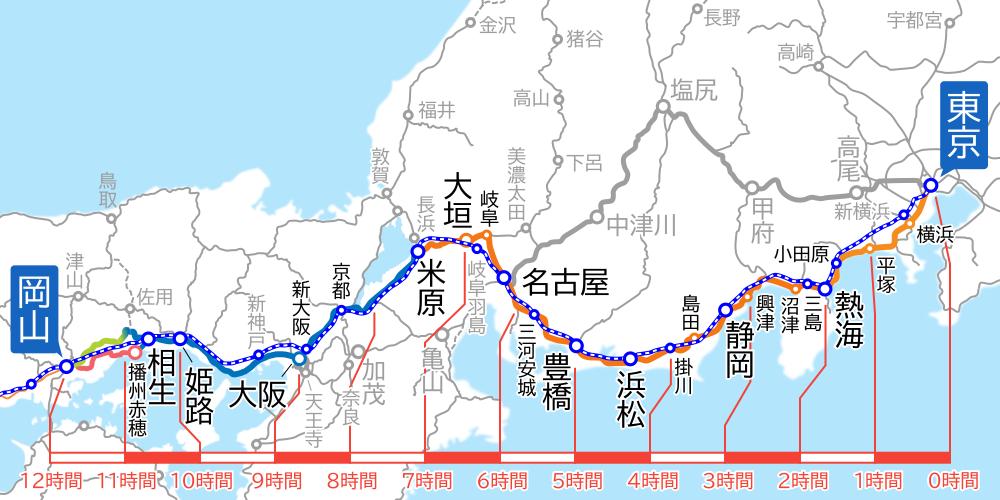 東京~岡山間-路線図-所要時間