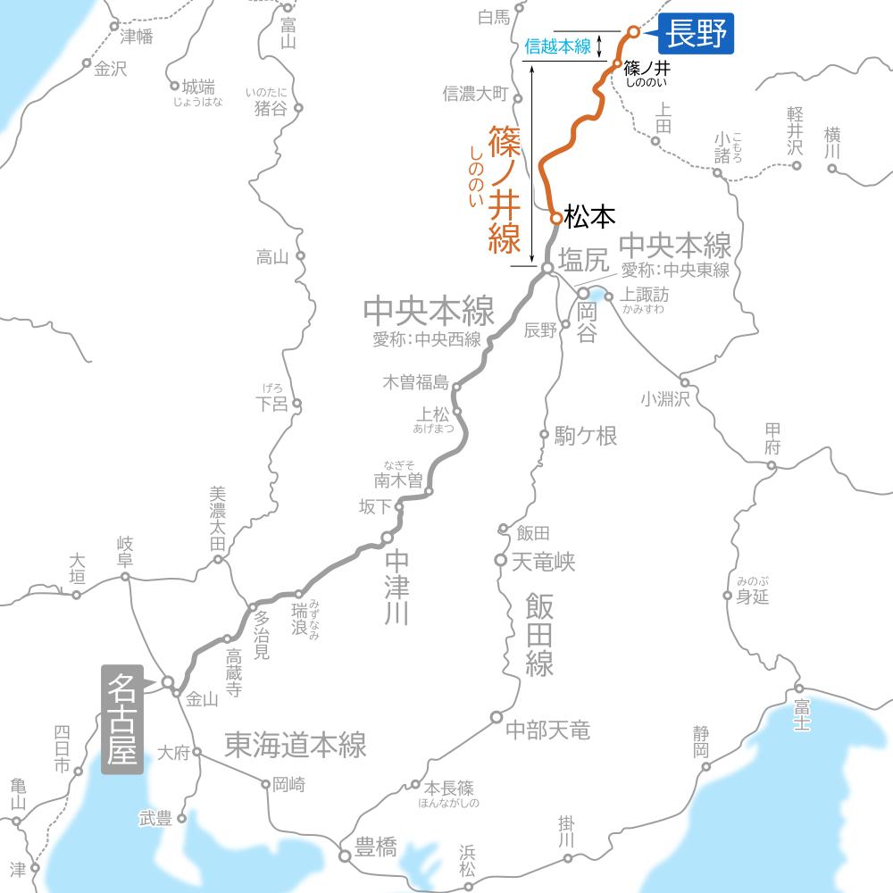 名古屋~長野間-路線図-松本~長野