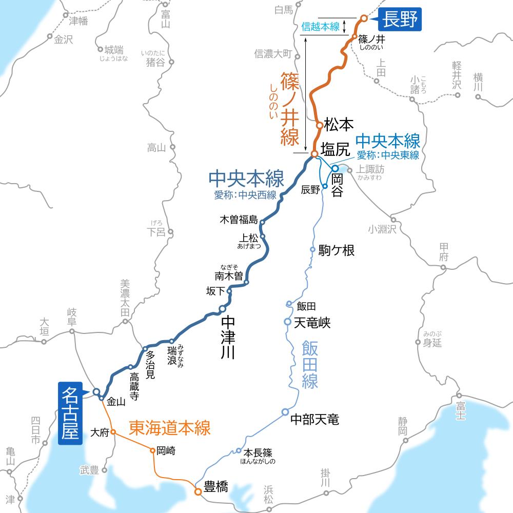 名古屋~長野間-路線図-他経路