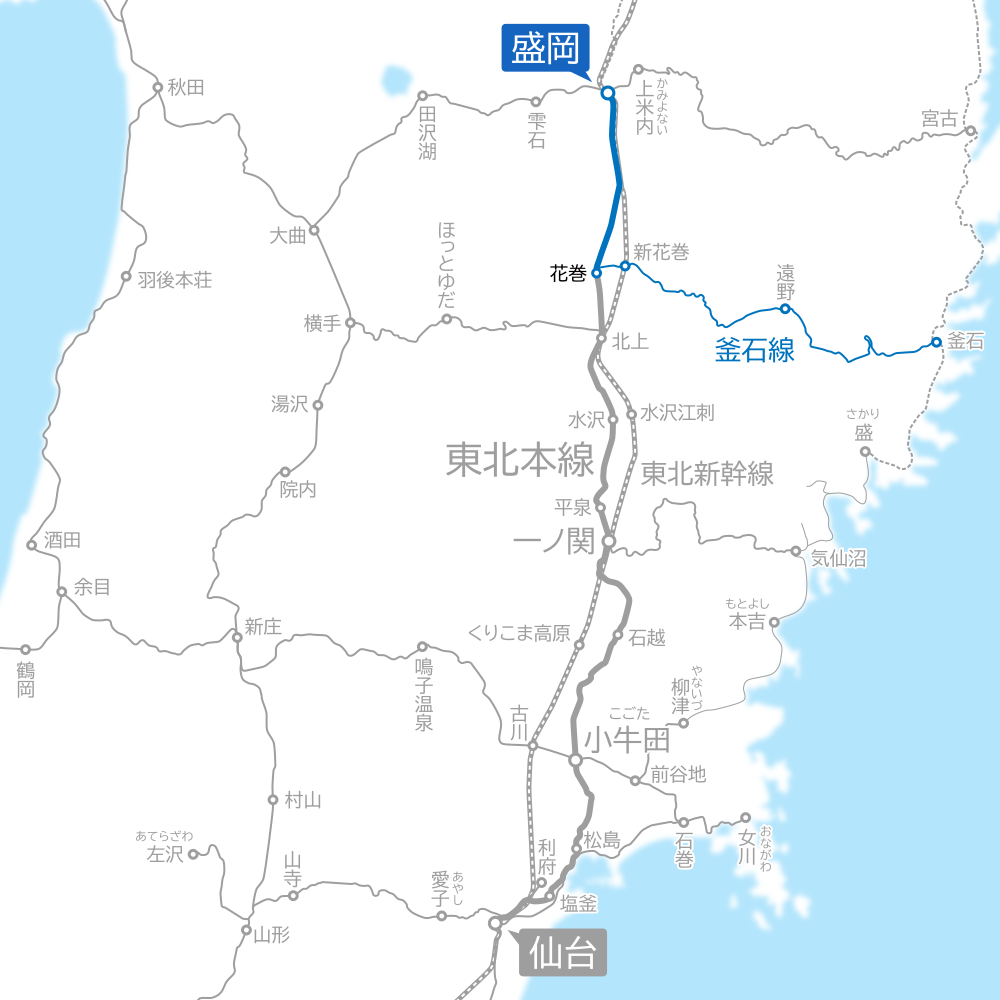 仙台~盛岡間-路線図-はまゆり号